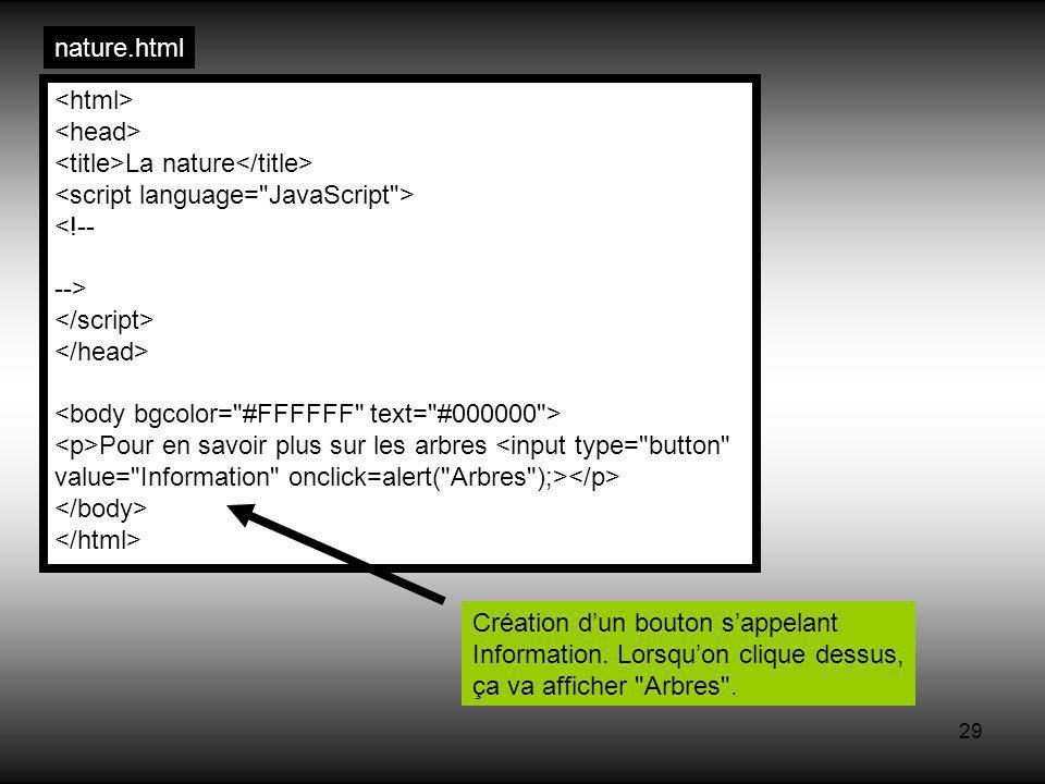 29 nature.html La nature <!-- --> Pour en savoir plus sur les arbres <input type= button value= Information onclick=alert( Arbres );> Création dun bouton sappelant Information.