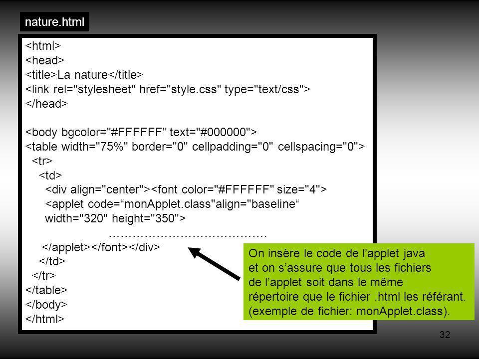 32 La nature <applet code=monApplet.class align= baseline width= 320 height= 350 > ………………………………….