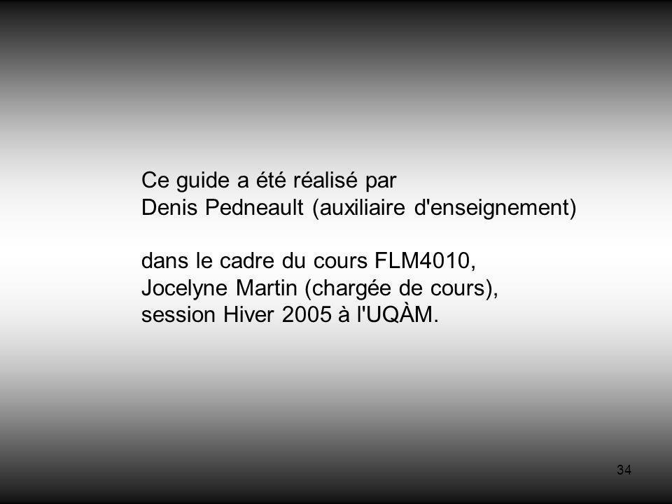 34 Ce guide a été réalisé par Denis Pedneault (auxiliaire d enseignement) dans le cadre du cours FLM4010, Jocelyne Martin (chargée de cours), session Hiver 2005 à l UQÀM.