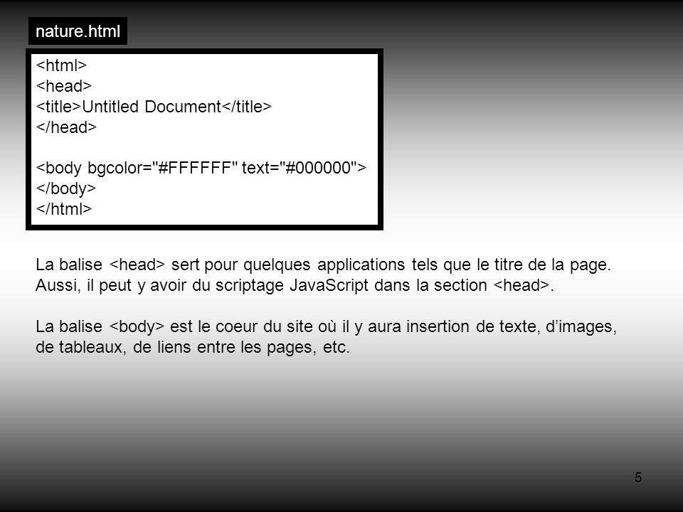 5 Untitled Document La balise sert pour quelques applications tels que le titre de la page. Aussi, il peut y avoir du scriptage JavaScript dans la sec