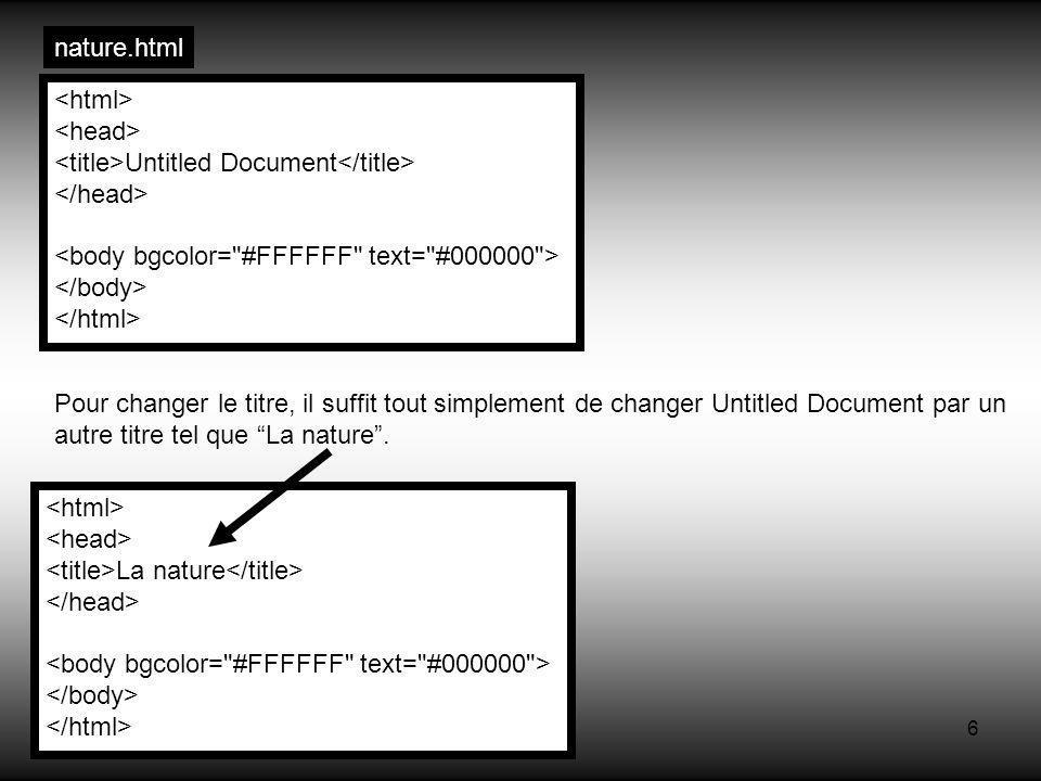 6 Untitled Document Pour changer le titre, il suffit tout simplement de changer Untitled Document par un autre titre tel que La nature. La nature natu