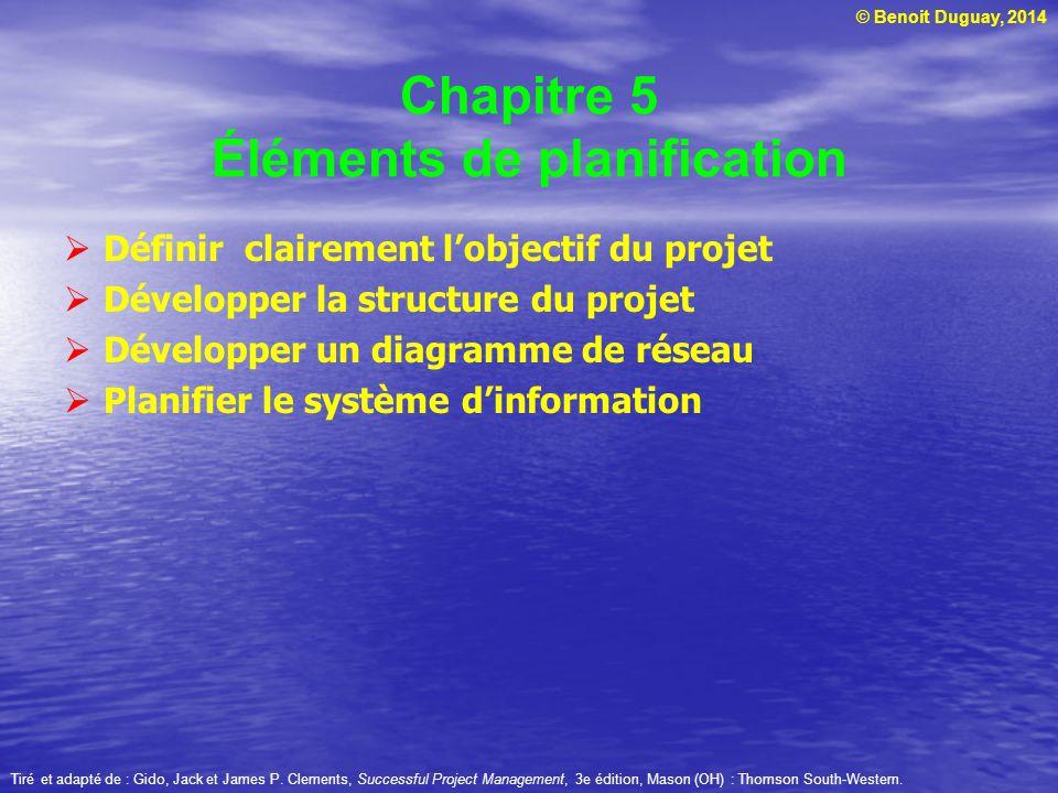 © Benoit Duguay, 2014 Chapitre 5 Éléments de planification Définir clairement lobjectif du projet Développer la structure du projet Développer un diag
