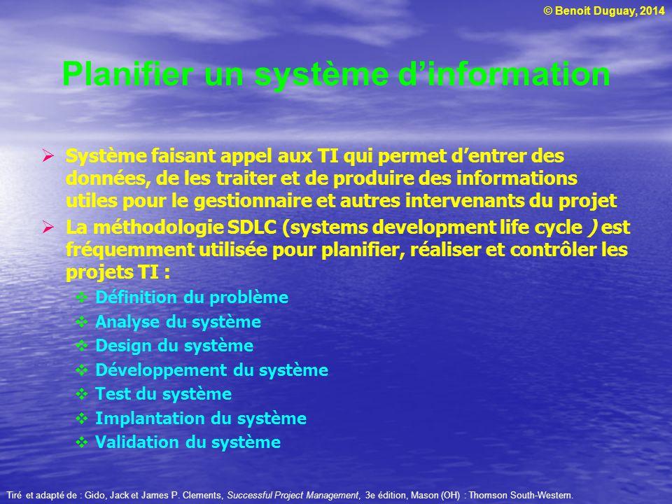 © Benoit Duguay, 2014 Système faisant appel aux TI qui permet dentrer des données, de les traiter et de produire des informations utiles pour le gesti