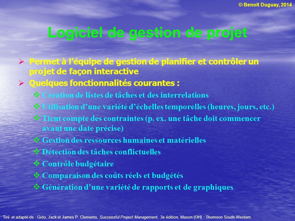 © Benoit Duguay, 2014 Permet à léquipe de gestion de planifier et contrôler un projet de façon interactive Quelques fonctionnalités courantes : Créati