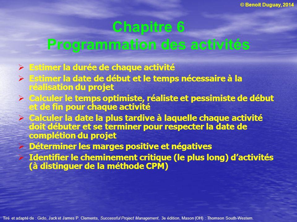 © Benoit Duguay, 2014 Chapitre 6 Programmation des activités Estimer la durée de chaque activité Estimer la date de début et le temps nécessaire à la