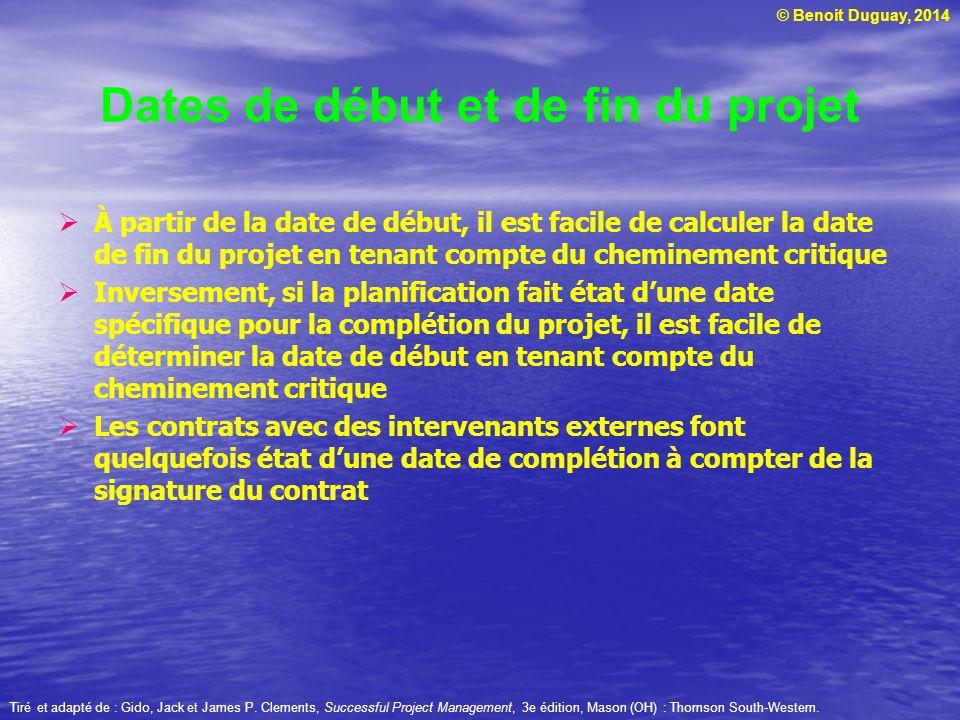 © Benoit Duguay, 2014 À partir de la date de début, il est facile de calculer la date de fin du projet en tenant compte du cheminement critique Invers