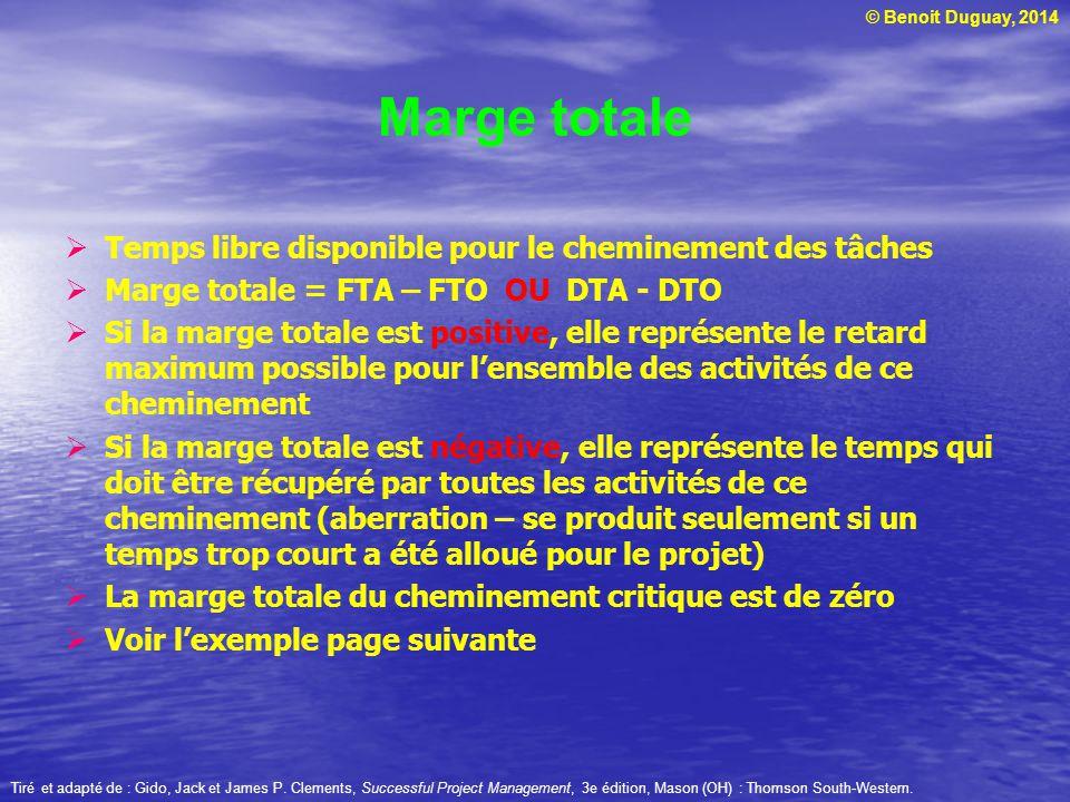 © Benoit Duguay, 2014 Marge totale Temps libre disponible pour le cheminement des tâches Marge totale = FTA – FTO OU DTA - DTO Si la marge totale est