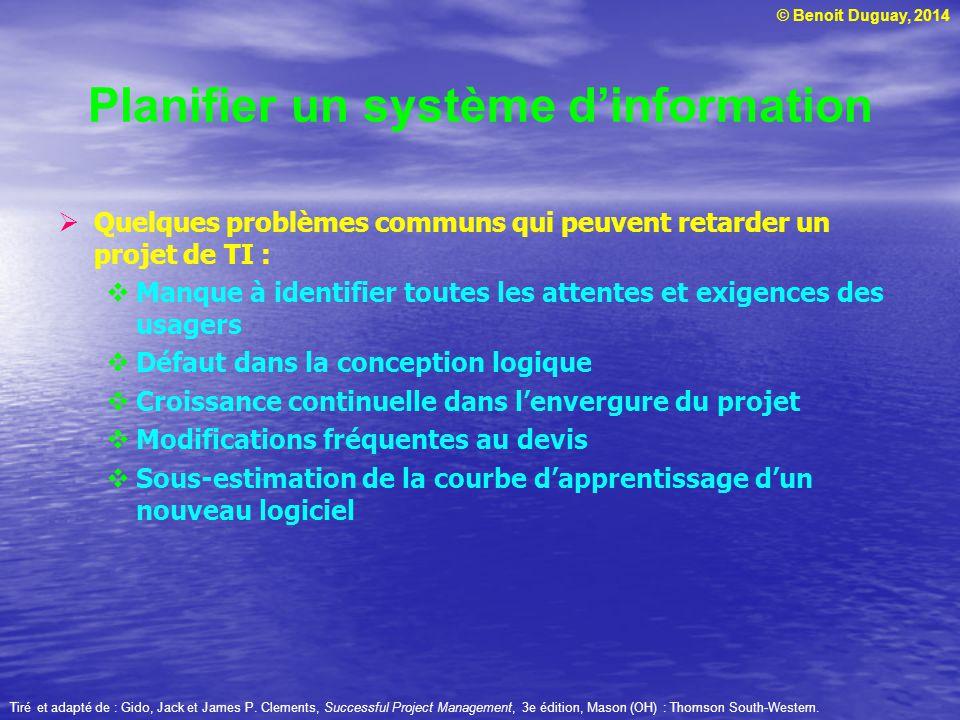 © Benoit Duguay, 2014 Quelques problèmes communs qui peuvent retarder un projet de TI : Manque à identifier toutes les attentes et exigences des usage