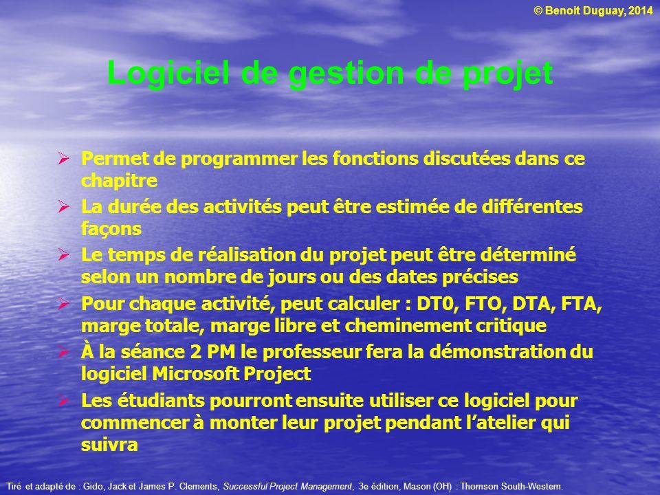 © Benoit Duguay, 2014 Permet de programmer les fonctions discutées dans ce chapitre La durée des activités peut être estimée de différentes façons Le