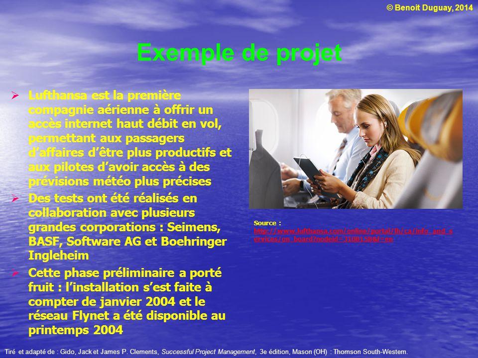 © Benoit Duguay, 2014 Exemple de projet Lufthansa est la première compagnie aérienne à offrir un accès internet haut débit en vol, permettant aux pass
