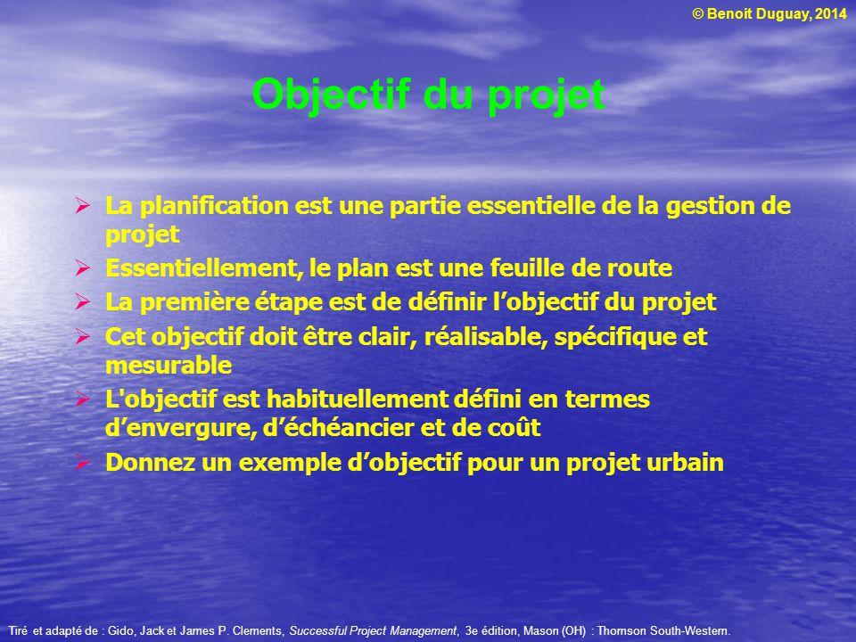 © Benoit Duguay, 2014 La planification est une partie essentielle de la gestion de projet Essentiellement, le plan est une feuille de route La premièr