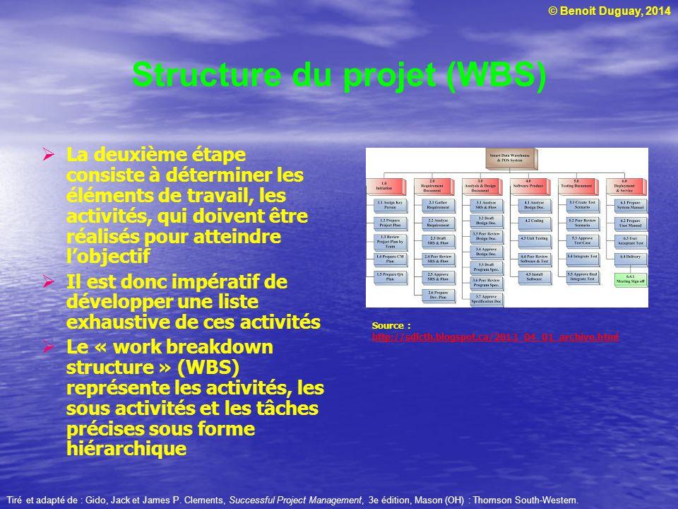 © Benoit Duguay, 2014 Structure du projet (WBS) La deuxième étape consiste à déterminer les éléments de travail, les activités, qui doivent être réali