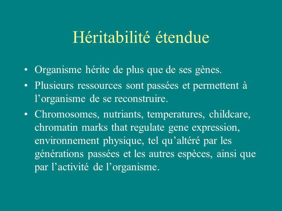 Héritabilité étendue Organisme hérite de plus que de ses gènes.