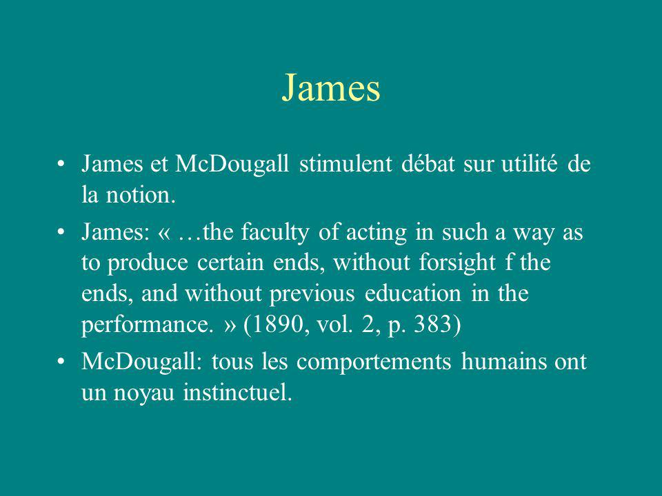 James James et McDougall stimulent débat sur utilité de la notion. James: « …the faculty of acting in such a way as to produce certain ends, without f