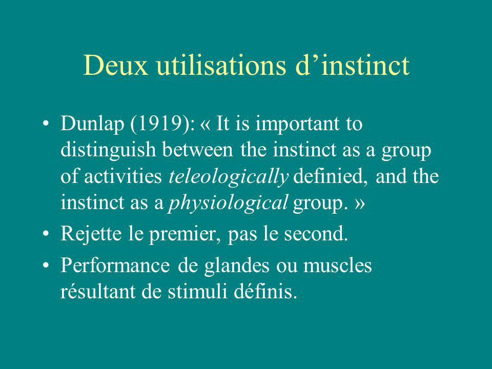Deux utilisations dinstinct Dunlap (1919): « It is important to distinguish between the instinct as a group of activities teleologically definied, and the instinct as a physiological group.