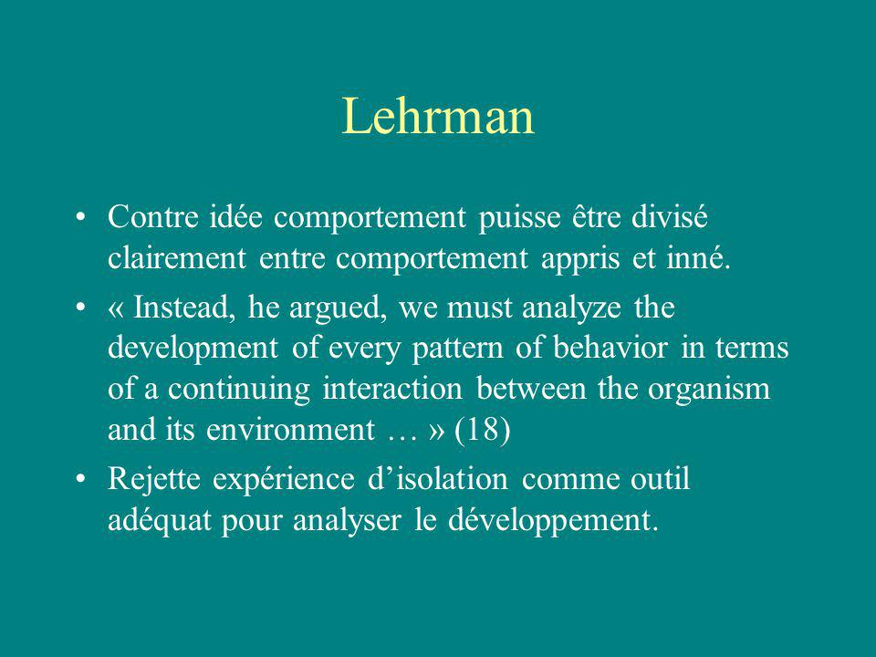 Lehrman Contre idée comportement puisse être divisé clairement entre comportement appris et inné. « Instead, he argued, we must analyze the developmen