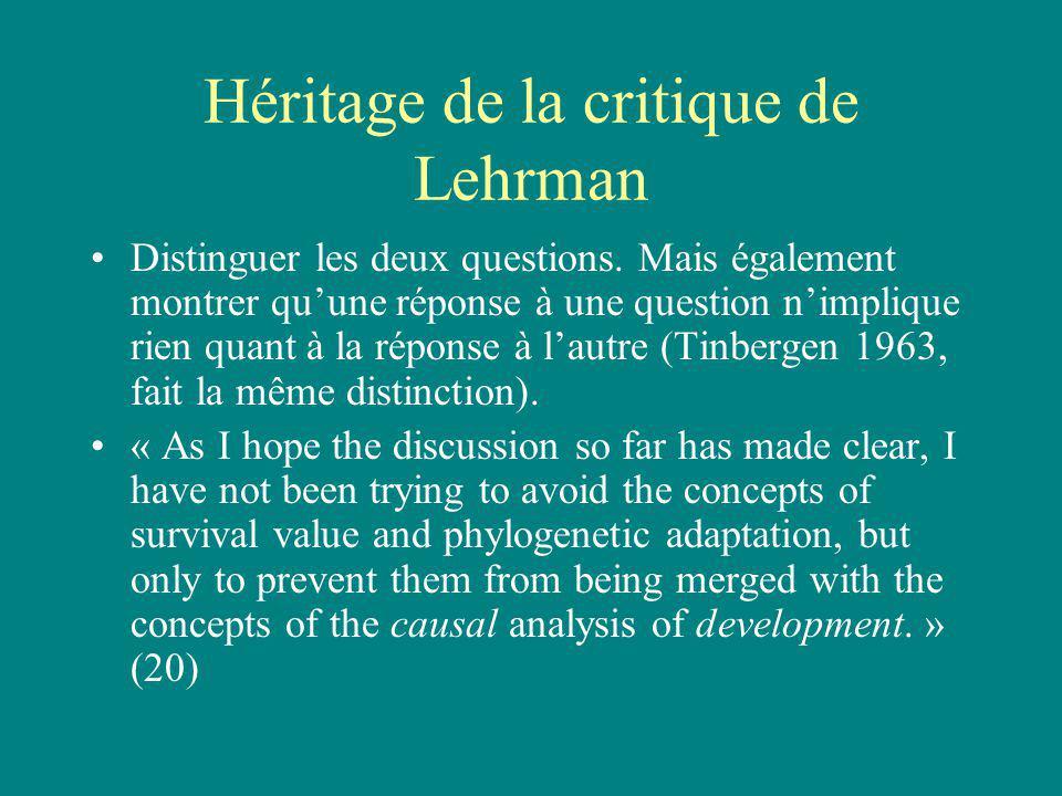 Héritage de la critique de Lehrman Distinguer les deux questions.