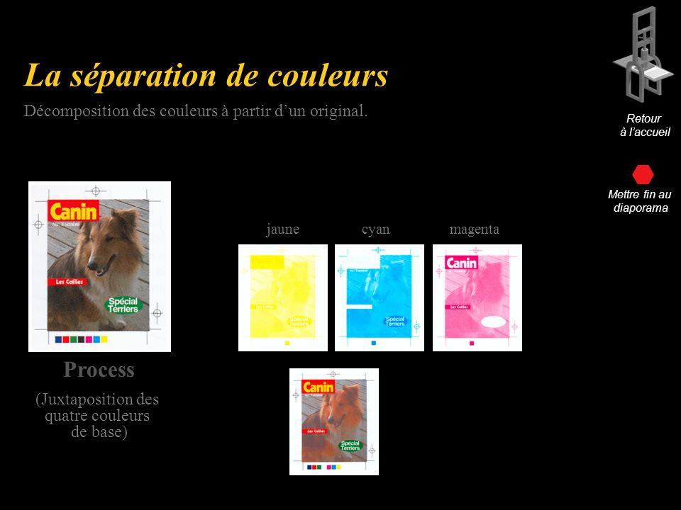 La séparation de couleurs Process (Juxtaposition des quatre couleurs de base) Décomposition des couleurs à partir dun original.