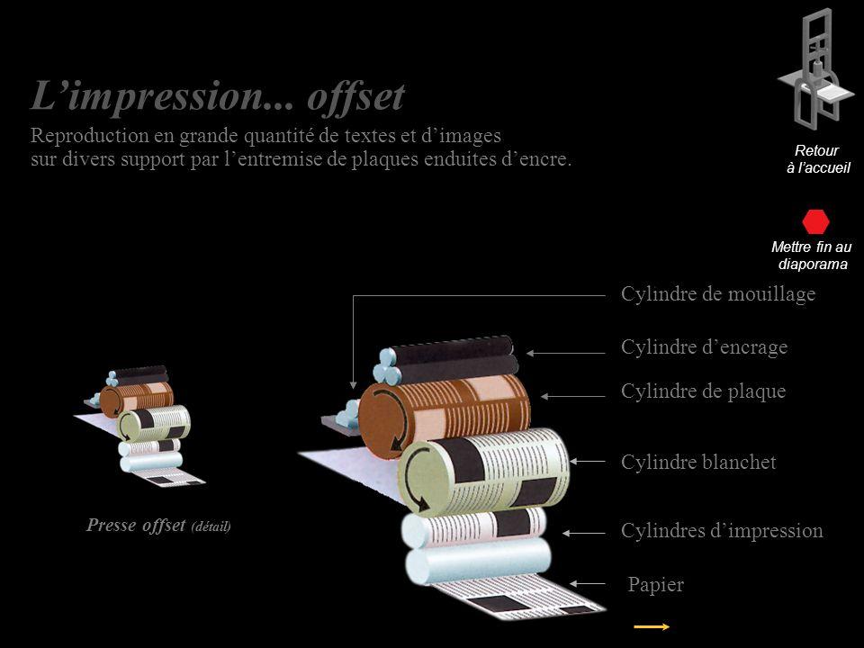 Presse offset (détail) Cylindre de plaque Cylindre blanchet Cylindre dencrage Cylindres dimpression Papier Cylindre de mouillage Retour à laccueil Limpression… offset Limpression...