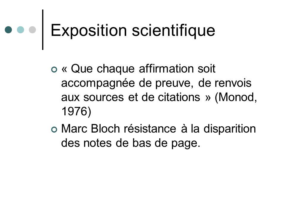 Exposition scientifique « Que chaque affirmation soit accompagnée de preuve, de renvois aux sources et de citations » (Monod, 1976) Marc Bloch résistance à la disparition des notes de bas de page.