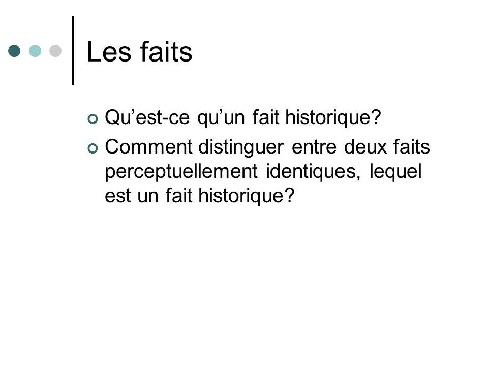 Les faits Quest-ce quun fait historique? Comment distinguer entre deux faits perceptuellement identiques, lequel est un fait historique?