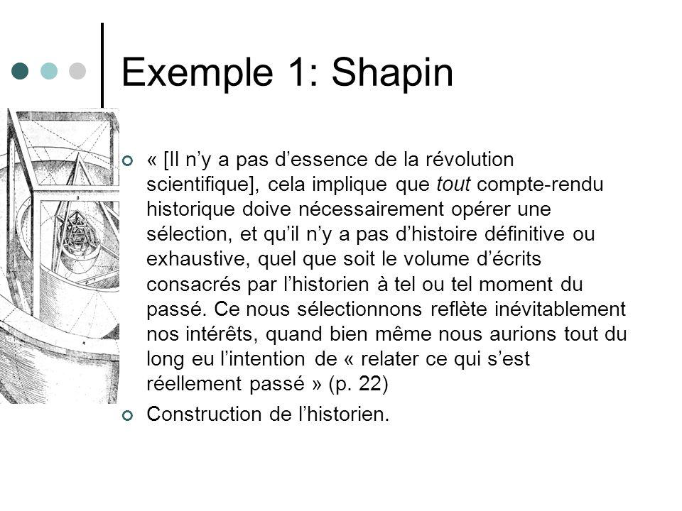 Exemple 1: Shapin « [Il ny a pas dessence de la révolution scientifique], cela implique que tout compte-rendu historique doive nécessairement opérer u