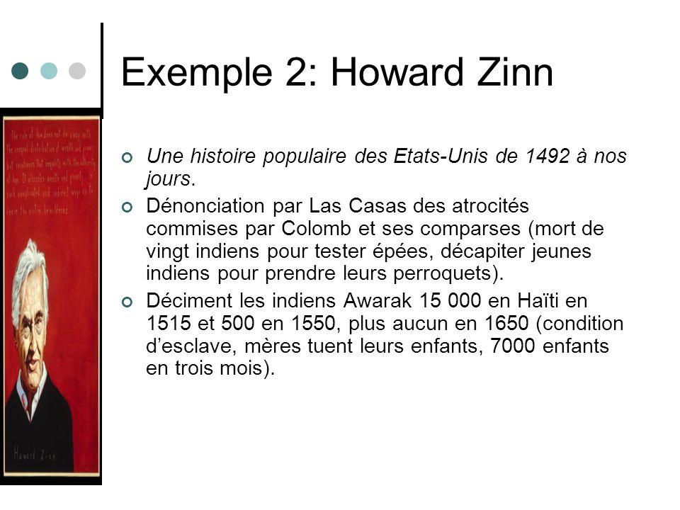 Exemple 2: Howard Zinn Une histoire populaire des Etats-Unis de 1492 à nos jours. Dénonciation par Las Casas des atrocités commises par Colomb et ses
