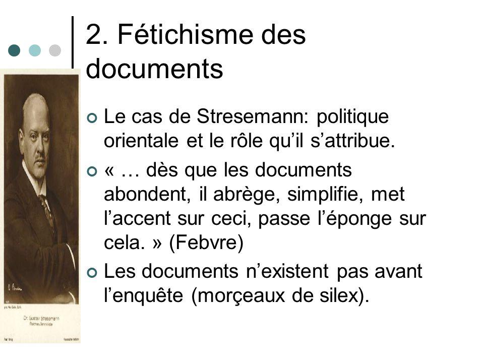 2. Fétichisme des documents Le cas de Stresemann: politique orientale et le rôle quil sattribue. « … dès que les documents abondent, il abrège, simpli
