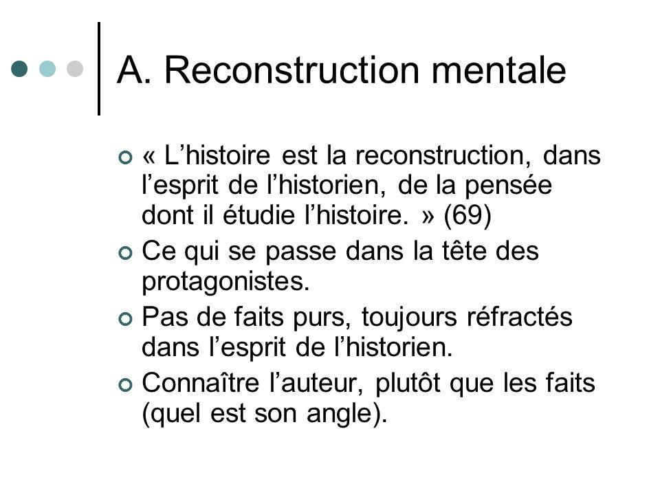 A. Reconstruction mentale « Lhistoire est la reconstruction, dans lesprit de lhistorien, de la pensée dont il étudie lhistoire. » (69) Ce qui se passe