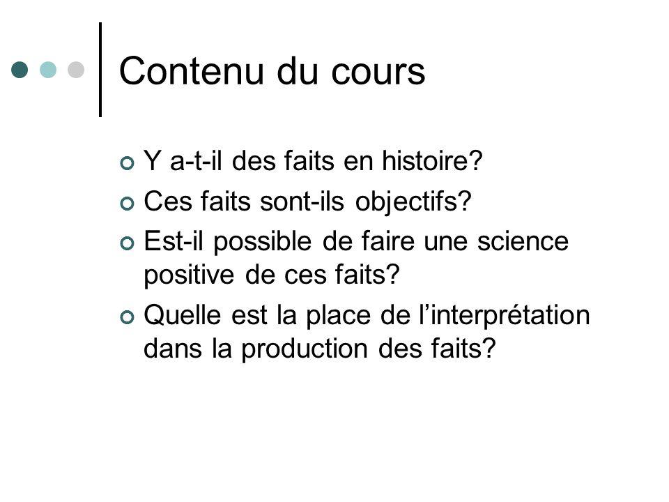 Contenu du cours Y a-t-il des faits en histoire? Ces faits sont-ils objectifs? Est-il possible de faire une science positive de ces faits? Quelle est