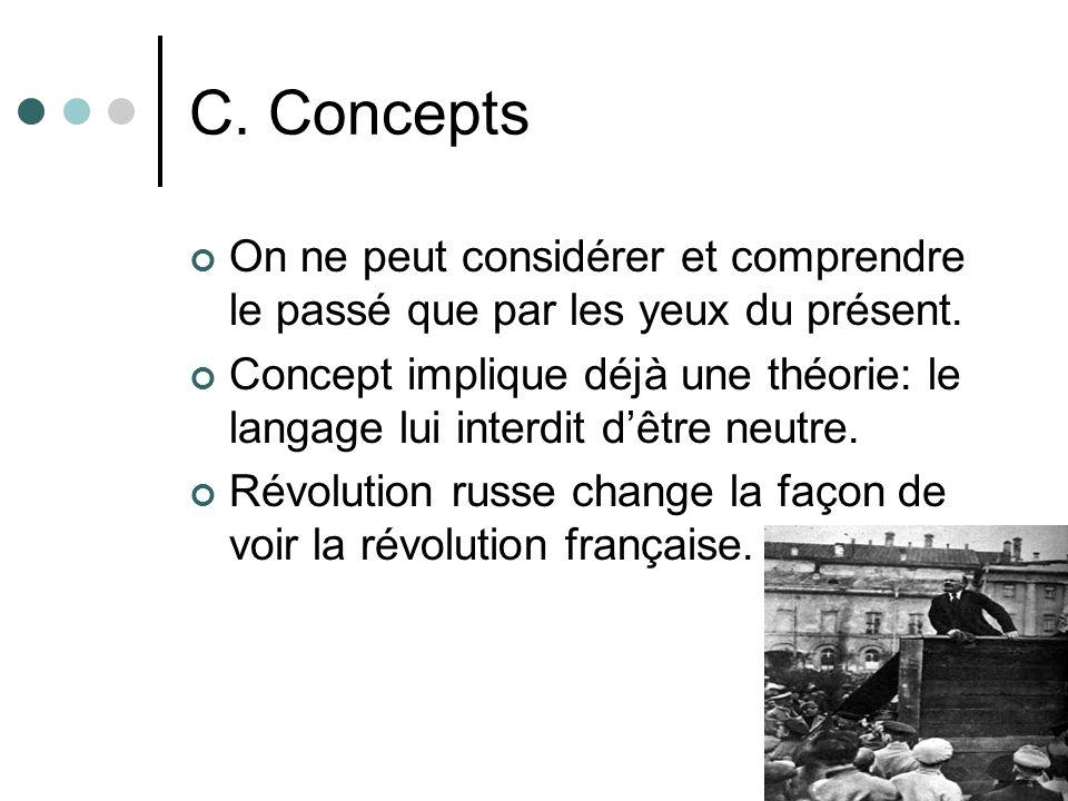 C. Concepts On ne peut considérer et comprendre le passé que par les yeux du présent. Concept implique déjà une théorie: le langage lui interdit dêtre