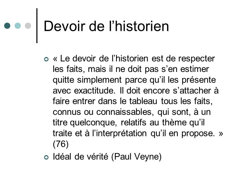 Devoir de lhistorien « Le devoir de lhistorien est de respecter les faits, mais il ne doit pas sen estimer quitte simplement parce quil les présente avec exactitude.