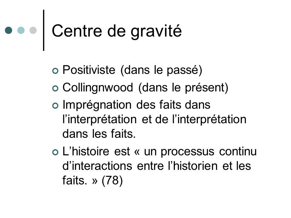 Centre de gravité Positiviste (dans le passé) Collingnwood (dans le présent) Imprégnation des faits dans linterprétation et de linterprétation dans le