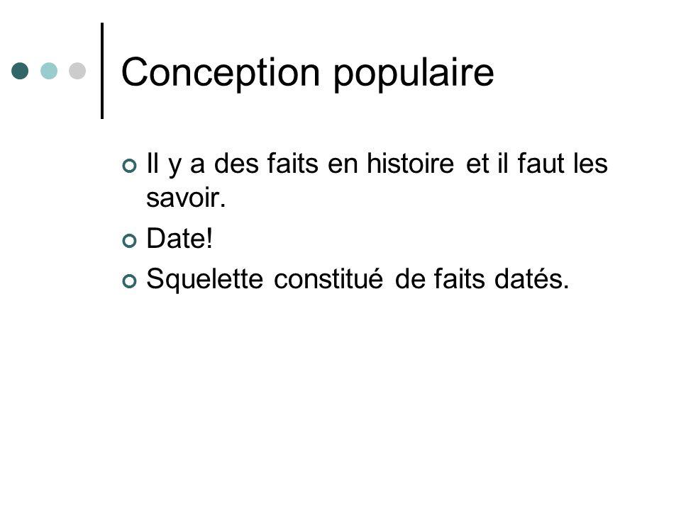 Conception populaire Il y a des faits en histoire et il faut les savoir.