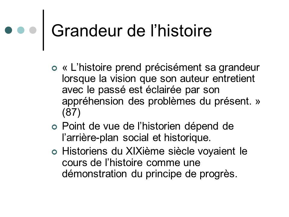 Grandeur de lhistoire « Lhistoire prend précisément sa grandeur lorsque la vision que son auteur entretient avec le passé est éclairée par son appréhe