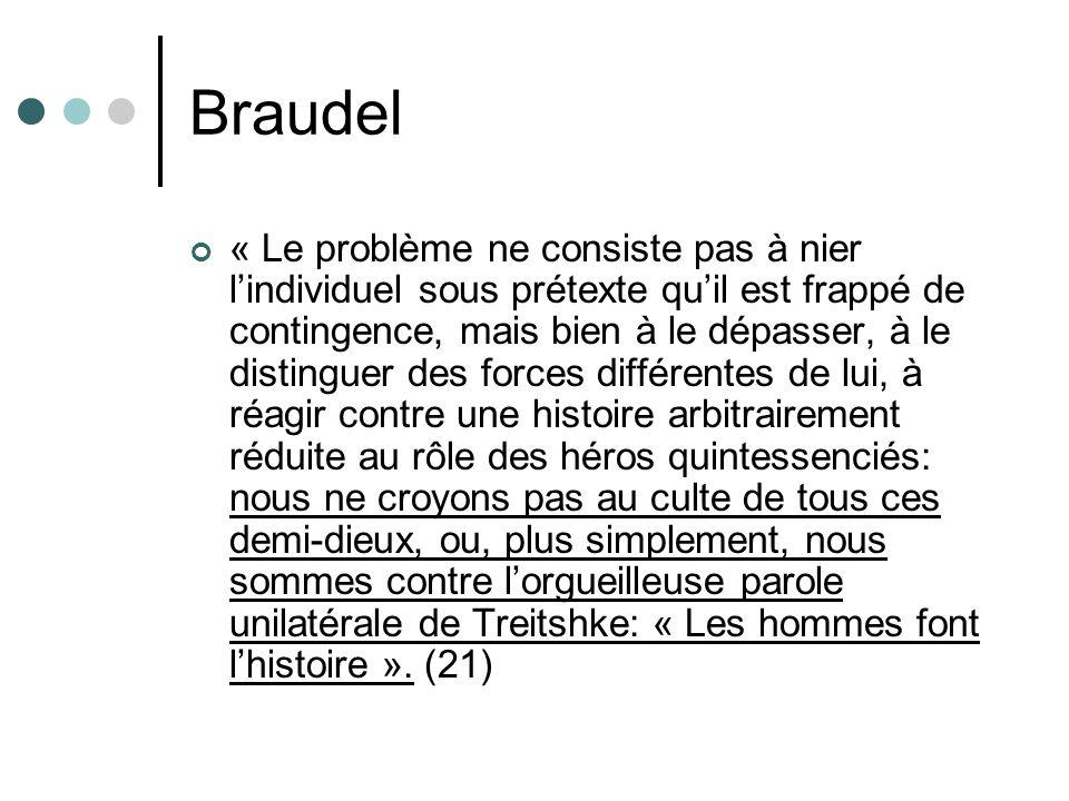 Braudel « Le problème ne consiste pas à nier lindividuel sous prétexte quil est frappé de contingence, mais bien à le dépasser, à le distinguer des fo