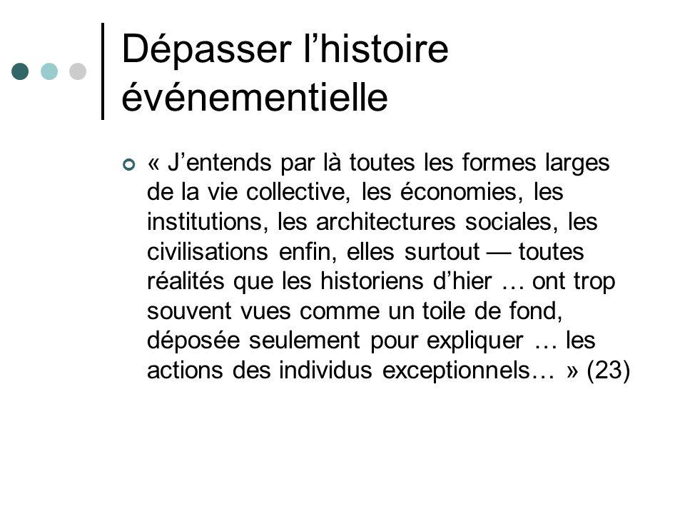 Dépasser lhistoire événementielle « Jentends par là toutes les formes larges de la vie collective, les économies, les institutions, les architectures