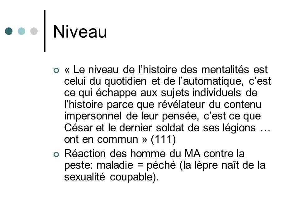 Niveau « Le niveau de lhistoire des mentalités est celui du quotidien et de lautomatique, cest ce qui échappe aux sujets individuels de lhistoire parc