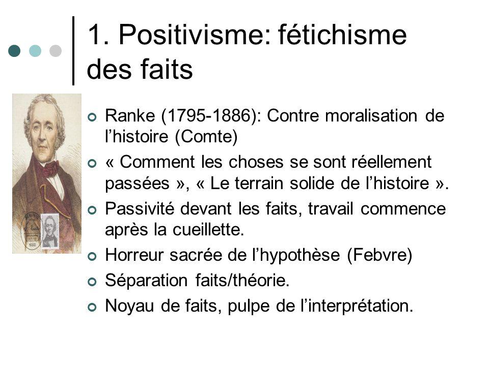 1. Positivisme: fétichisme des faits Ranke (1795-1886): Contre moralisation de lhistoire (Comte) « Comment les choses se sont réellement passées », «