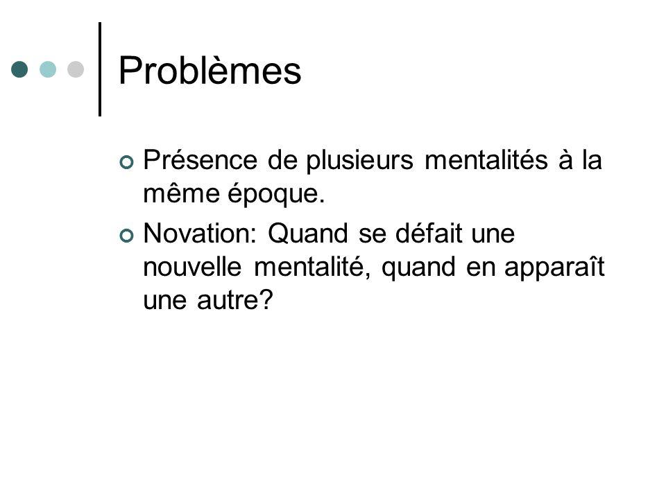 Problèmes Présence de plusieurs mentalités à la même époque.