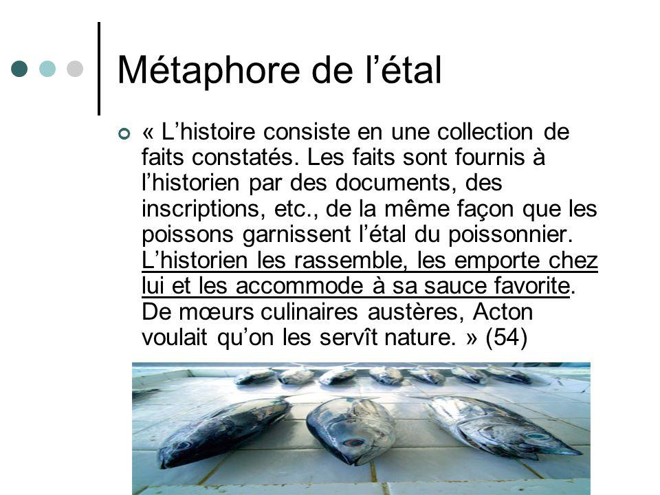 Métaphore de létal « Lhistoire consiste en une collection de faits constatés. Les faits sont fournis à lhistorien par des documents, des inscriptions,
