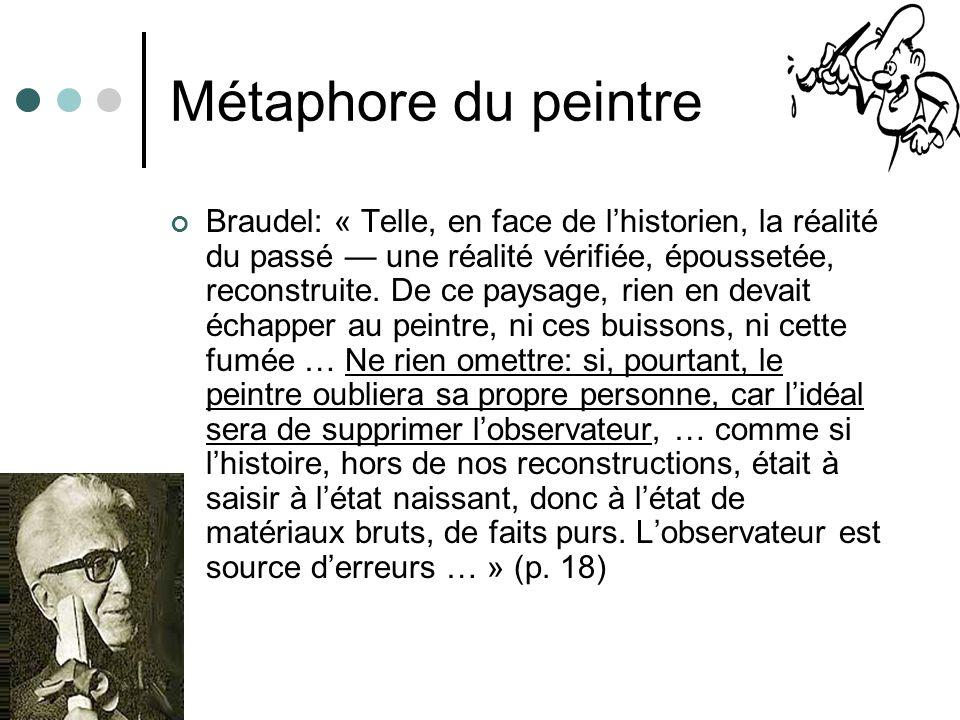 Métaphore du peintre Braudel: « Telle, en face de lhistorien, la réalité du passé une réalité vérifiée, époussetée, reconstruite. De ce paysage, rien