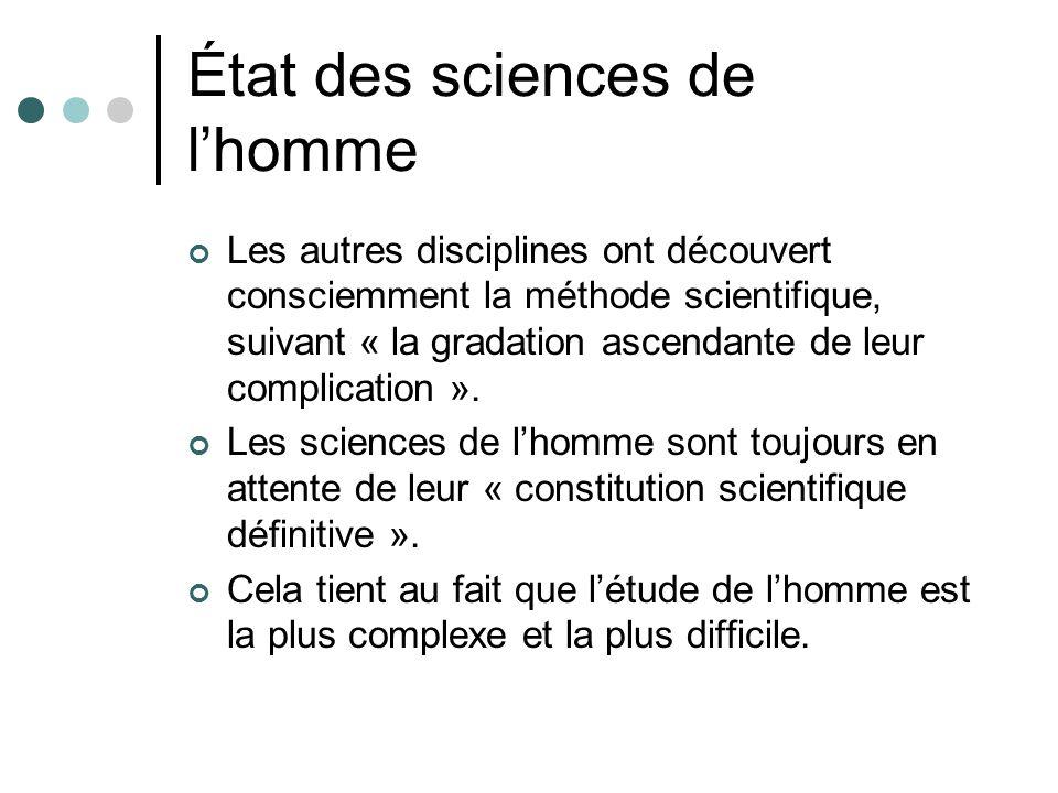 État des sciences de lhomme Les autres disciplines ont découvert consciemment la méthode scientifique, suivant « la gradation ascendante de leur complication ».
