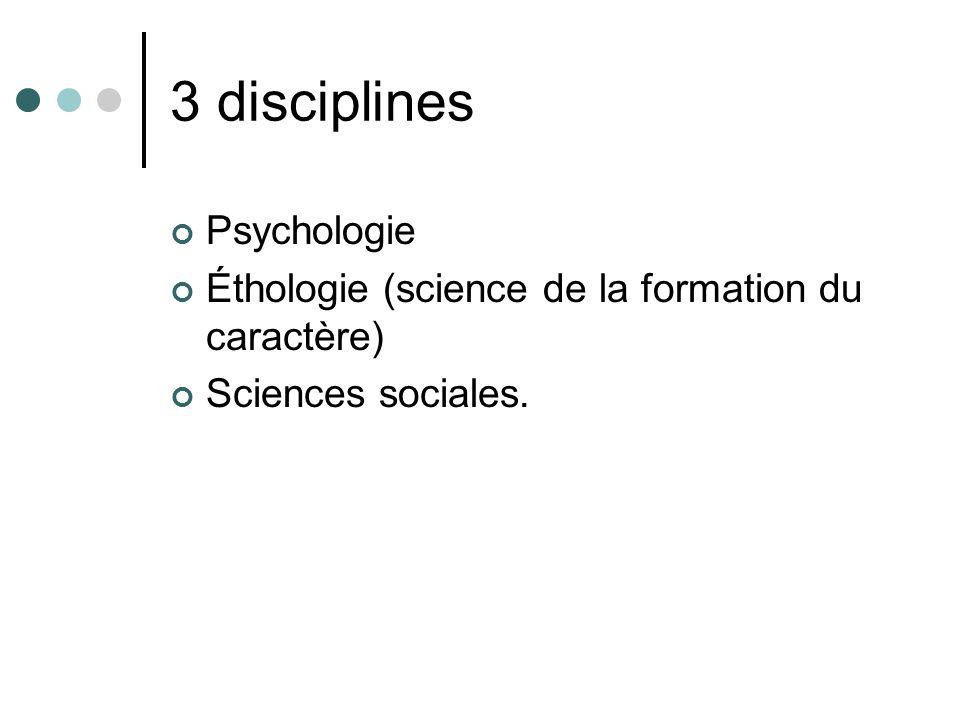 3 disciplines Psychologie Éthologie (science de la formation du caractère) Sciences sociales.