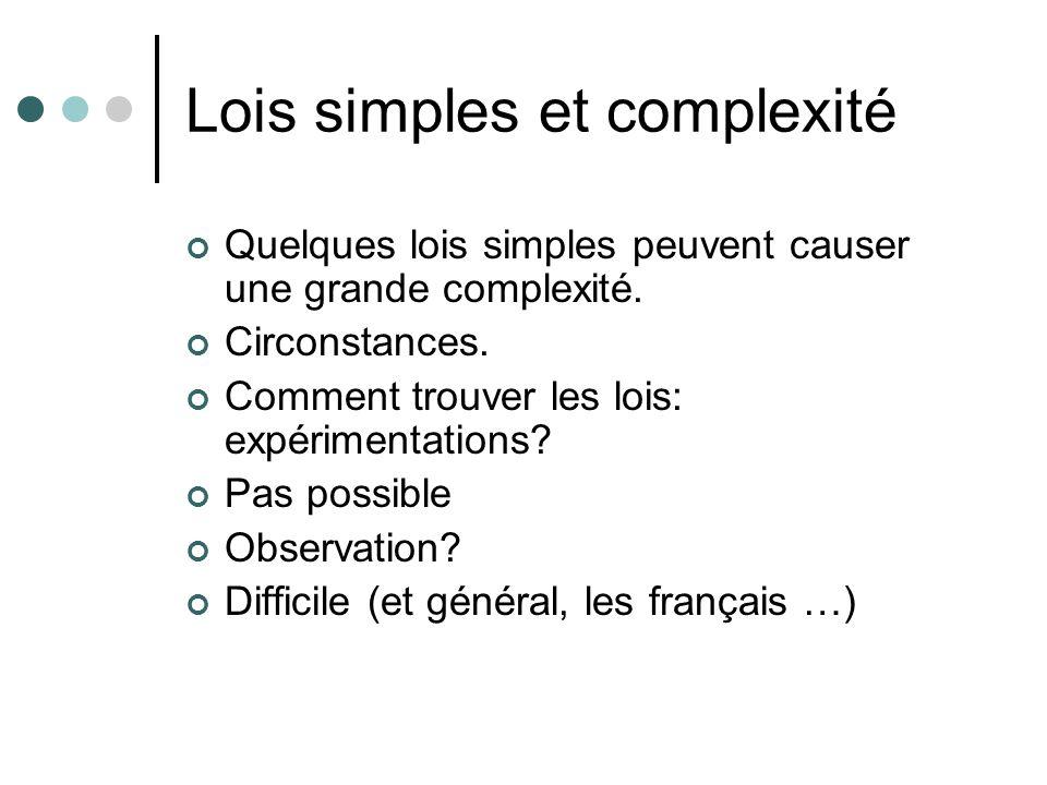 Lois simples et complexité Quelques lois simples peuvent causer une grande complexité.