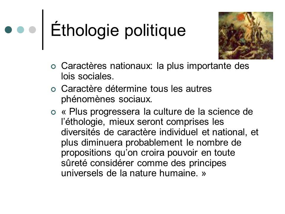 Éthologie politique Caractères nationaux: la plus importante des lois sociales.