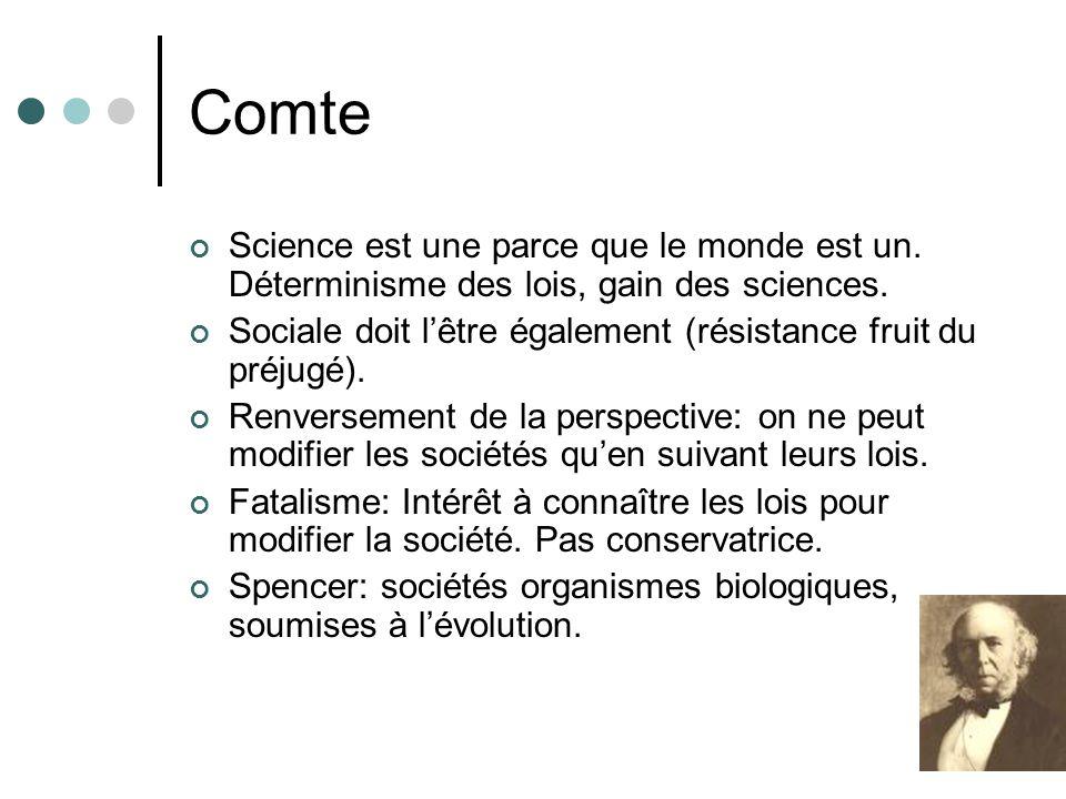 Comte Science est une parce que le monde est un.Déterminisme des lois, gain des sciences.