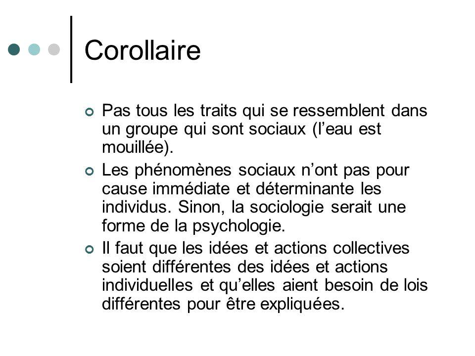 Corollaire Pas tous les traits qui se ressemblent dans un groupe qui sont sociaux (leau est mouillée).