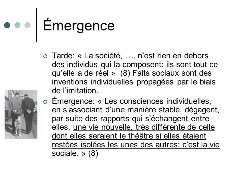 Émergence Tarde: « La société, …, nest rien en dehors des individus qui la composent: ils sont tout ce quelle a de réel » (8) Faits sociaux sont des inventions individuelles propagées par le biais de limitation.