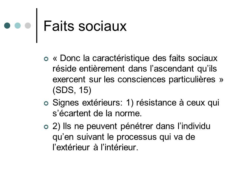 Faits sociaux « Donc la caractéristique des faits sociaux réside entièrement dans lascendant quils exercent sur les consciences particulières » (SDS, 15) Signes extérieurs: 1) résistance à ceux qui sécartent de la norme.